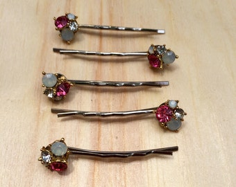 Gorgeous pink crystal bobby pins