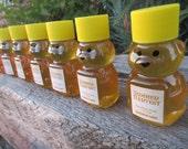 30 Honey Favors - Pure Raw Summer Honey - 2 oz bears, labeled
