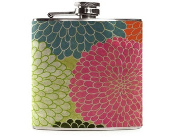 Vintage Floral Flask, Custom Flower Colorful Pretty Girly Bridesmaids, 6oz Hip Flask for Women, Womens Gift