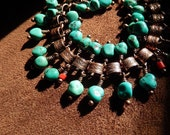 Turquoise Bracelet, Bookchain Bracelet, Vintage Copper, Charm Bracelet, Gypsy Jewelry, Boho Jewelry