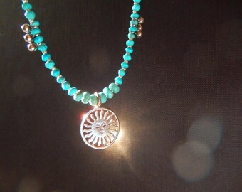 Delicate Turquoise Necklace with Sterling Silver Sun Pendant, Faceted Turquoise, Fall Necklace, Present for Her