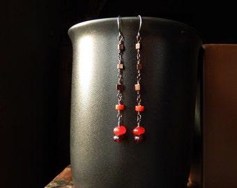 Long Dangle Earrings with Carnelian, Coral, Garnet, Hematite - Boho Summer Jewelry