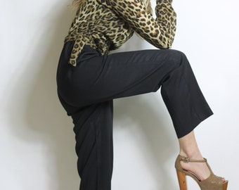 Vintage 80s Jumpsuit Virgo Leopard Wrap Top Black Pant Onesie