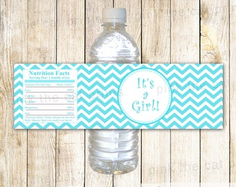 Turquoise Chevron Baby Shower Bottle Labels Baby Shower Bottle Wrappers - Its a Girl Printable Light Teal Wraps INSTANT DOWNLOAD