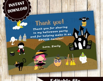 Halloween Thank You Card Note Kids Party Editable File INSTANT DOWNLOAD