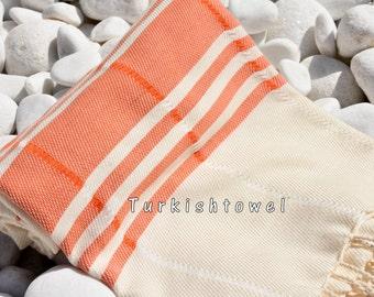 Turkishtowel-Soft-Hand woven,warp&weft cotton Bath,Beach Towel-Point twill pattern,Orange stripes on the natural cream
