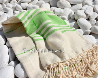 Turkishtowel-Soft-Hand woven,warp&weft cotton Bath,Beach Towel-Point twill pattern,Neon green stripes on the natural cream