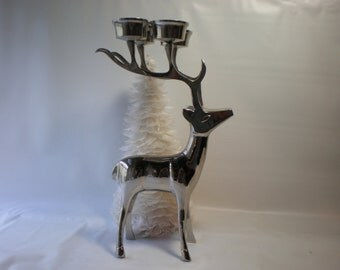 Vintage Very Large Deer or Reindeer Candle Holder with candles