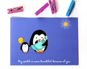 PENGUIN FAMILY POSTCARD - Children's Wall Art Print - Kids Decor - Wall Art Illustration - siblings, nursery - Penguins -  4.1 x 5.8 in