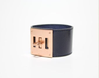 Leather Wrap Bracelet with Brushed Rose Gold Plated Square Closure Ornament(Dark Navy)