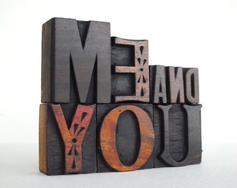 Me And You - 8 Vintage Letterpress Wooden Letters Collection - LP30