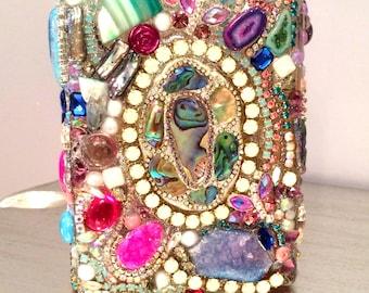 OOAK Bejeweled bling Vase gems mineral crystal galore
