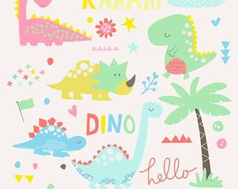 INSTANT DOWNLOAD - Hello Dino Cliparts