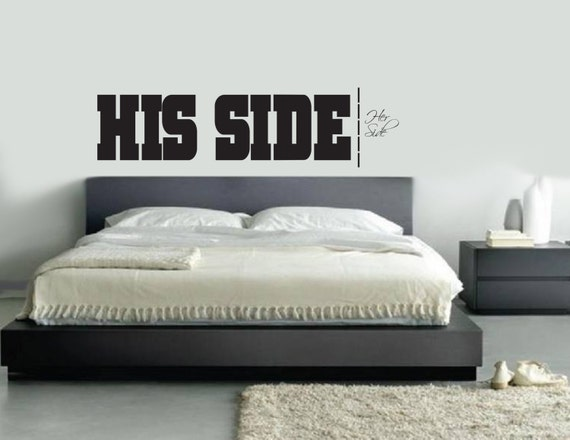 His side her side wall decal master bedroom living room for His and her bedroom decorating ideas