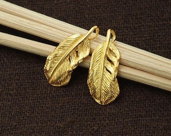 2 of 925 Sterling Silver 24k Gold Vermeil Style Feather Charms 7x14.5 mm. :vm0518