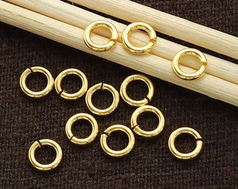 30 of 925 Sterling Silver 24k Vermeil Style Opened Jump Rings 5x1 mm. :vm0039