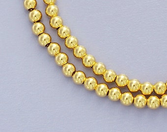 30 of 925 Sterling Silver 24k Vermeil Style Round Seed Beads 3 mm. :vm0015