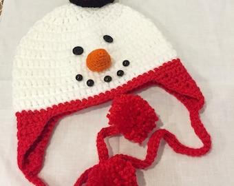 Children hat ,snowman hat ,winter hat,baby hat-earflap crocheted hat