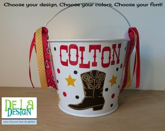 Cowboy boot personalized with name Halloween trick or treat metal bucket, 5 quart pail, Match your Costume, cowboy, cowgirl, rodeo, rancher