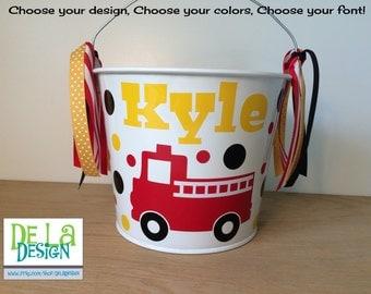 Personalized Easter basket, 5 quart metal bucket, Fire truck, Halloween trick or treat metal bucket, Match your Costume, fireman, birthday