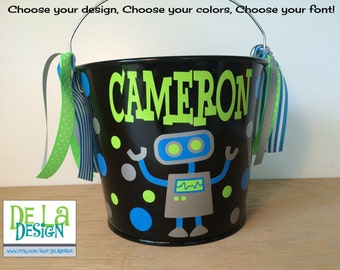 Robot personalized with name Halloween trick or treat basket, 5 quart metal bucket, pail, Match your Costume, scientist, techie, birthday