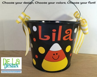Halloween bucket: Personalized halloween trick or treat metal bucket, 5 quart, cute candy corn design, other colors and designs available