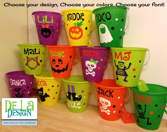 Halloween bucket: Personalized Halloween sand pail, beach bucket with shovel for use as trick or treat candy bag or party favor