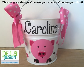 Halloween bucket: Pig or other animal design Personalized halloween trick or treat metal bucket, 2 quart toddler size, match your costume