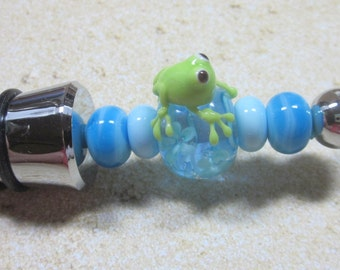 Froggy - Beaded Wine Stopper, Bottle Stopper, Artisan Lampwork Glass, Hand Crafted, Metal, Unique, Beadable, Decorative, OOAK, SRAJD