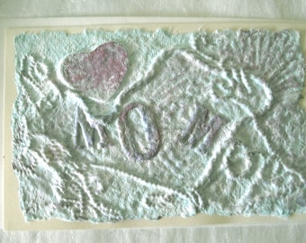 I Love You Mom Card, Mom Birthday Card, Mom Christmas Card, Mom Art Card, Blue Heart Card, Beautiful Card, Handmade Cast Paper Card