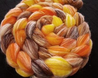 Hand Dyed Panda Top - SW Merino/Bamboo/Nylon 60/30/10 -  4 oz - Yellow, Orange, Chestnut and Brown