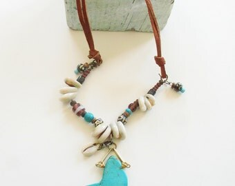 Cowrie Shell Beaded Turquoise & Suede, Pendant Necklace / Boho /Native American ~ Free Shipping US