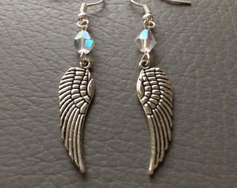 AB crystal Angel wing earrings.