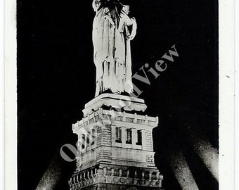 ON SALE Statue of Liberty At Night Real Photo Postcard c1950s, Vintage Manhattan NYC Black & White Rppc Ephemera, Grogan Photo, Free Shippin