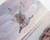 Peace, beach, gull, spiritual, frameable, Large greeting card Silver foil letterpress, natural, serenity, Australian coastline