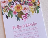 Letterpress invitation, SAMPLE, wedding, engagement, save the date, colorful peony bouquet, simple invitation digital image letterpress text
