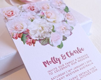 Letterpress invitation, wedding, engagement, save the date, roses, soft pink, simple invitation digital image letterpress text SAMPLE only