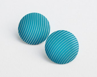 Vintage 80s Turquoise Aqua Blue Enamel Geometric Arc Curved Lines Stripes Silver Tone Round Domed Button Silvertone Etched Pierced Earrings
