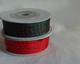 "HOLIDAY SET... 2 Thin Ribbon Spools...1/8"" X 25 yards each"