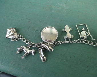 Sale - Vintage Sterling Silver Automade Charm Bracelet with 10 Vintage Charms Beau