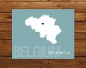 Custom Belgium, Personalized Country Print, Country Love, Country Map, Country, Heart, Silhouette, 8 x 10 Wall Art Print
