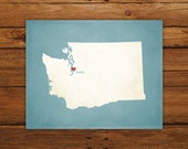 Customized Washington 8 x 10 State Art Print, State Map, Heart, Silhouette, Aged-Look Print