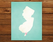 Customized New Jersey 8 x 10 State Art Print, State Map, Heart, Silhouette, Aged-Look Print