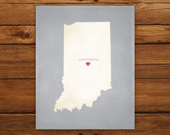 Customized Indiana 8 x 10 State Art Print, State Map, Heart, Silhouette, Aged-Look Print