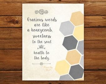 Bible Verse Print Proverbs 16:24 - Geometric Honeycomb Design