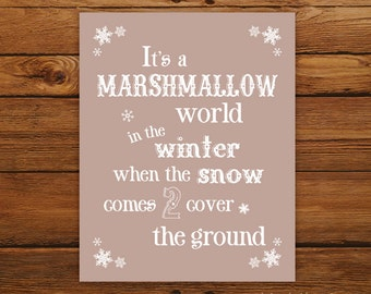 """Marshmallow World 8x10"""" Christmas Print - Christmas Song in Taupe"""