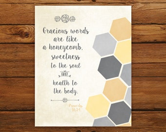 Bible Verse Proverbs 16:24 - Geometric Honeycomb Design, INSTANT DOWNLOAD