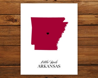 Arkansas State Love Map Silhouette 8x10 Print - Customized