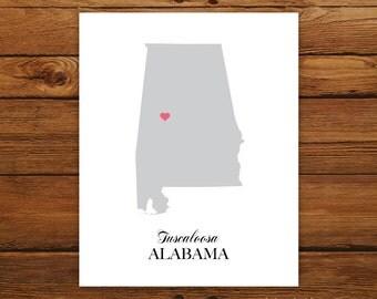 Alabama State Love Map Silhouette 8x10 Print - Customized