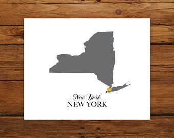 New York State Love Map Silhouette 8x10 Print - Customized